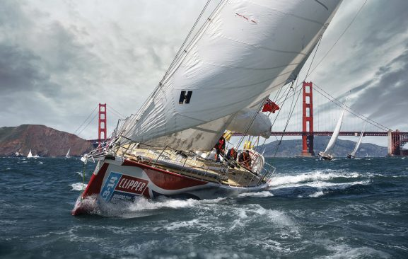 Yacht sailing in the Clipper Round the World Yacht Race